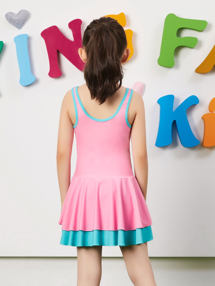 Y0397,图片1,儿童连体裙式泳衣