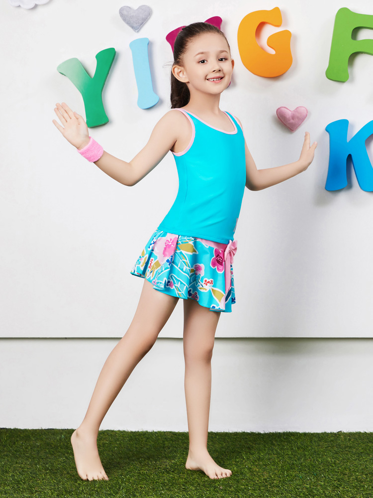 Y0370,图片1,女童裙式泳衣