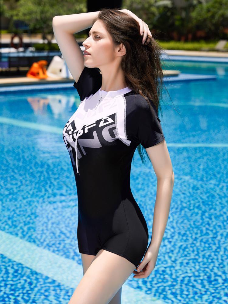 Y1923,图片1,休闲短袖连体平角泳衣