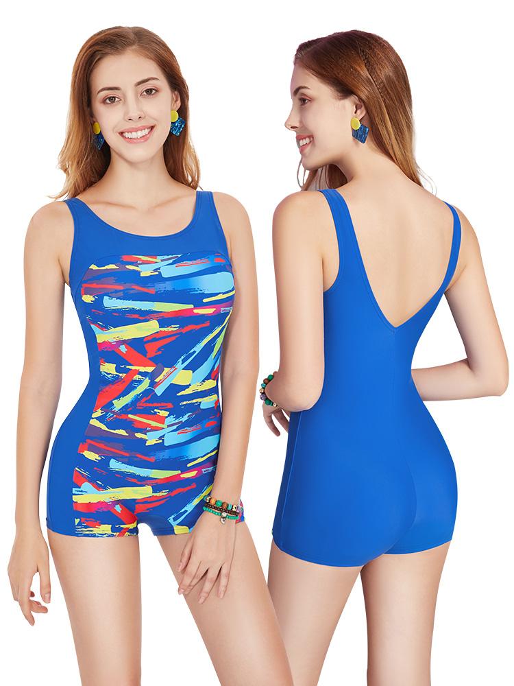 Y1936,图片1,休闲连体平角泳衣