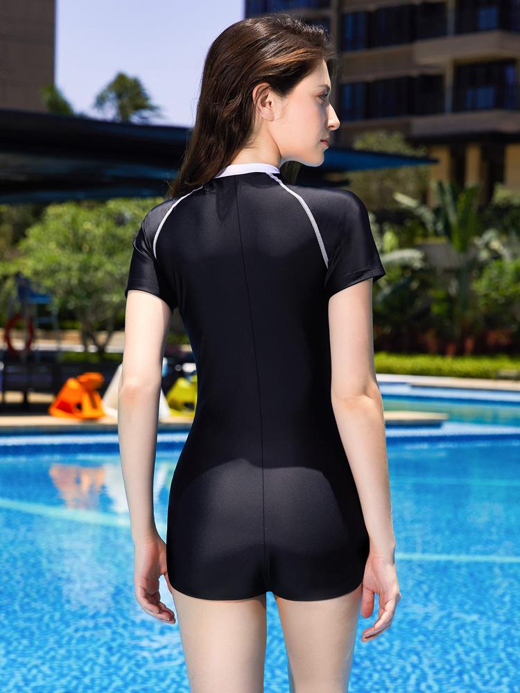 Y1923,图片3,休闲短袖连体平角泳衣