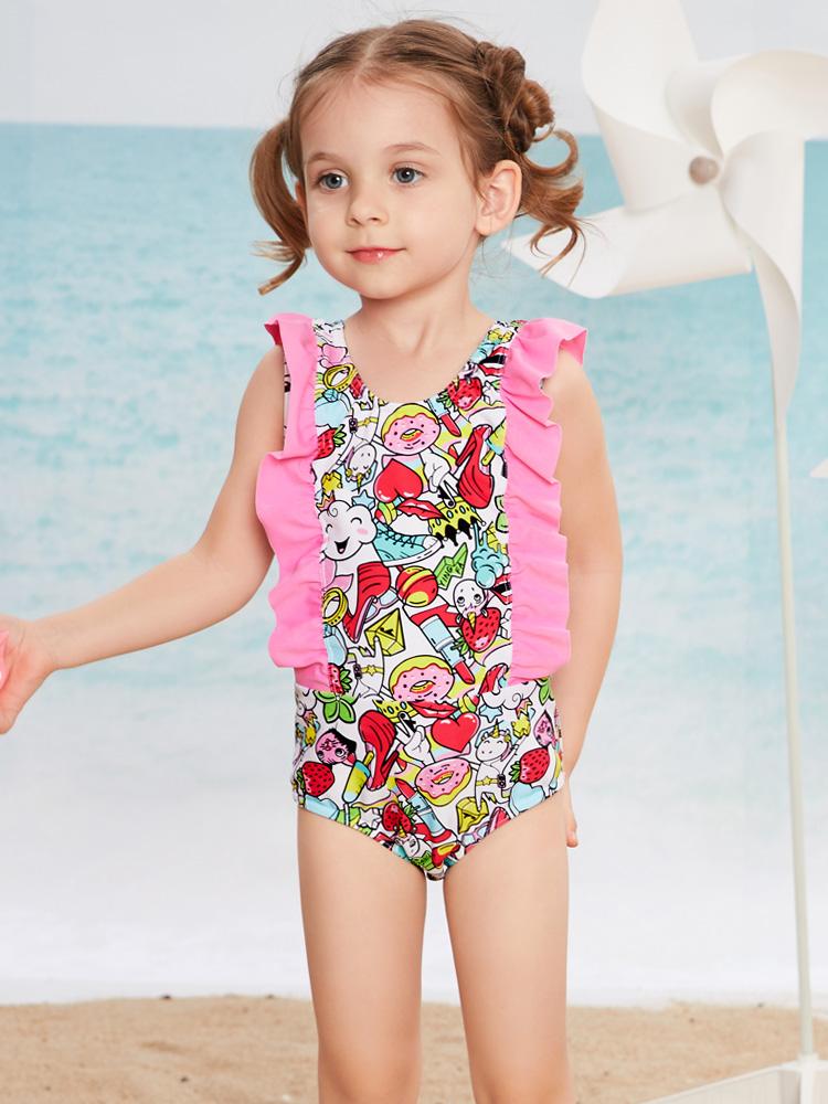 Y0518,图片1,儿童连体三角泳衣