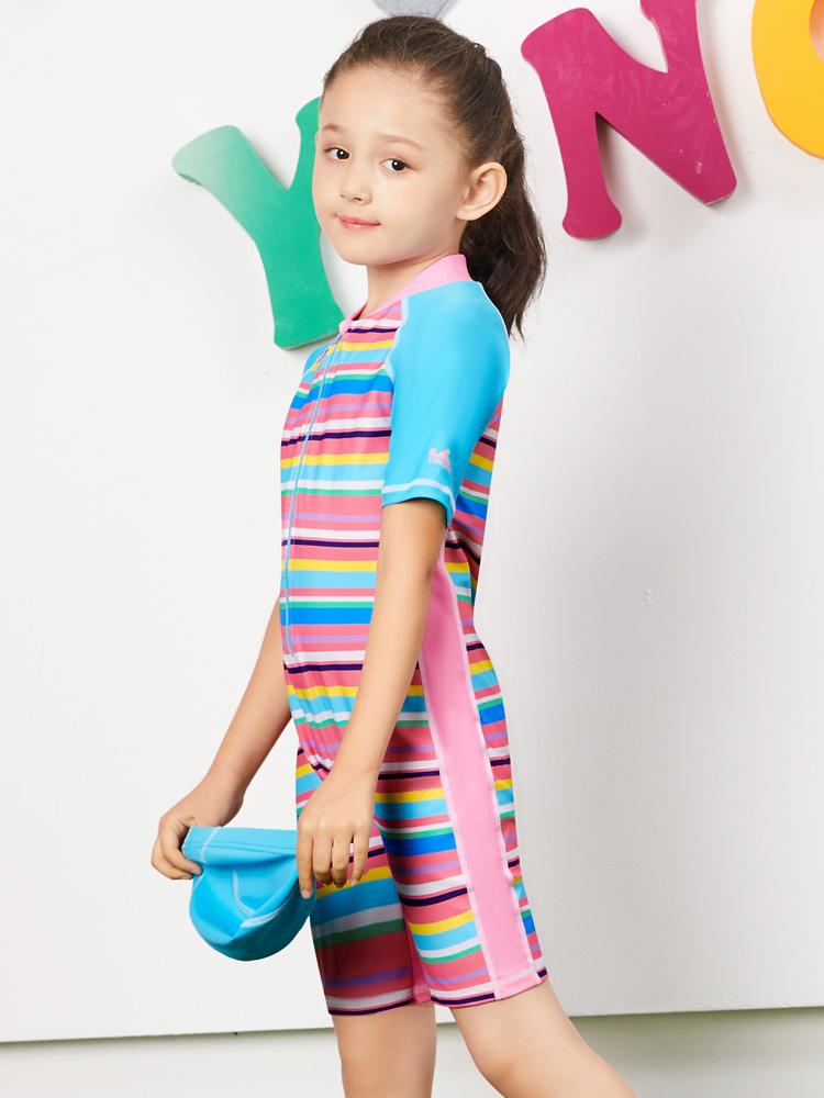 Y0390,图片2,女童连体短袖泳衣