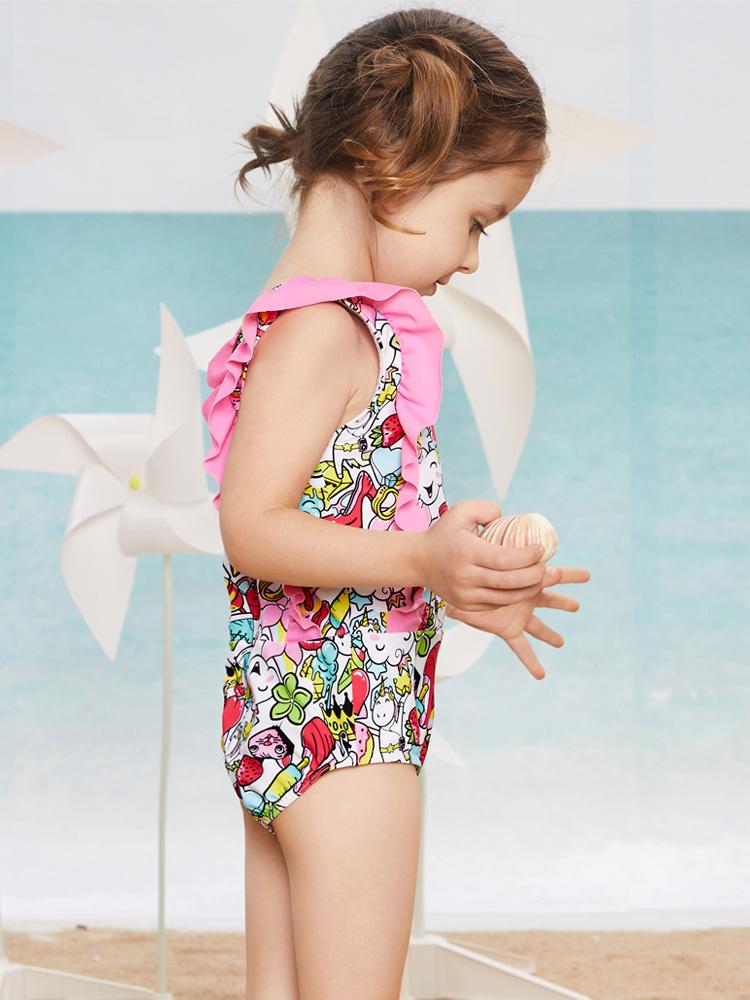 Y0518,图片2,儿童连体三角泳衣