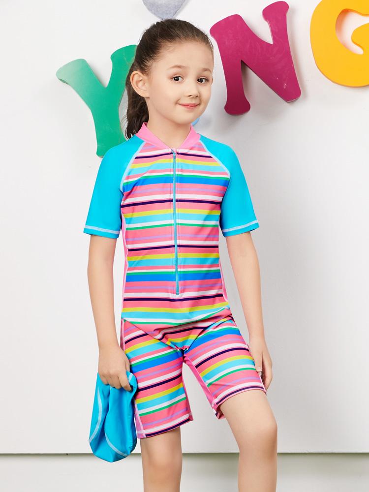 Y0390,图片1,女童连体短袖泳衣