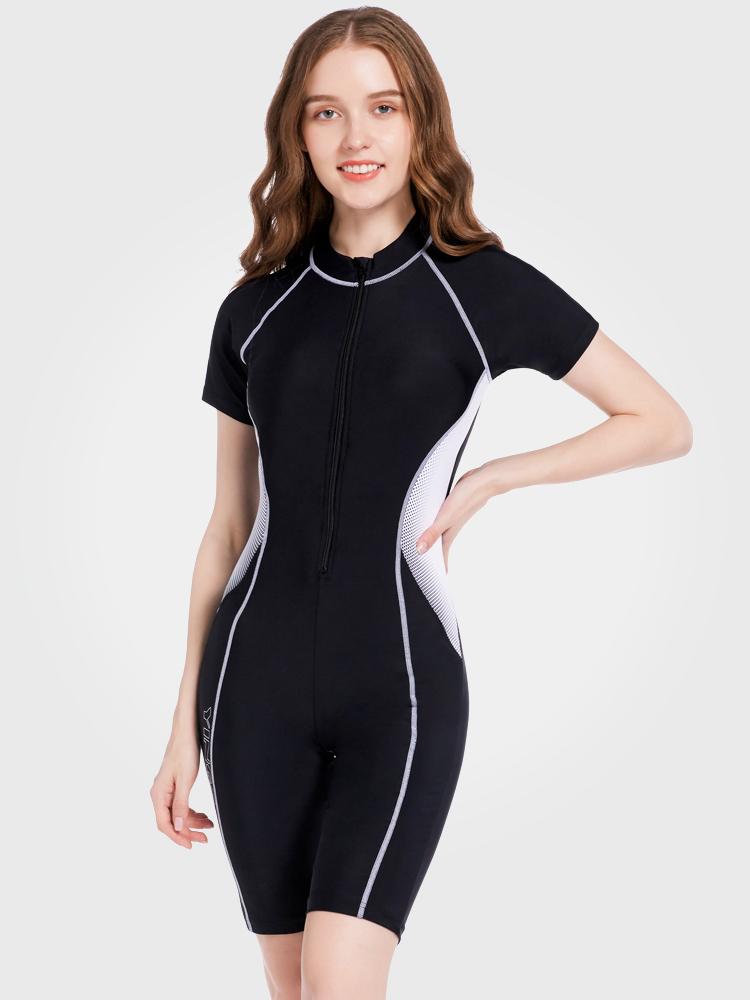Y2129,图片0,短袖连体及膝泳衣