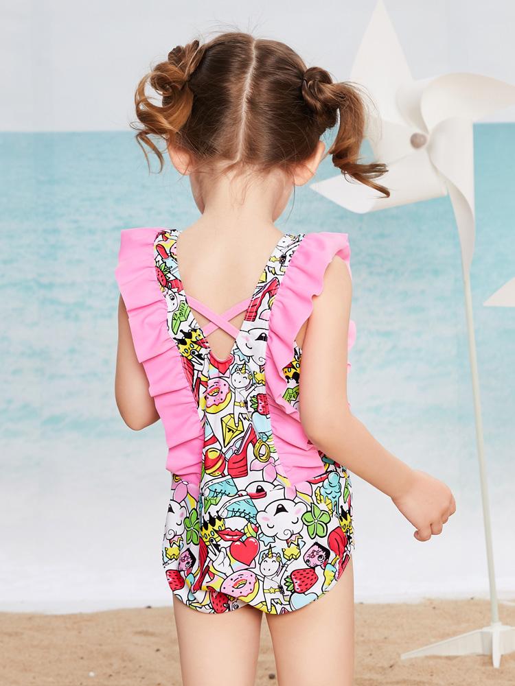 Y0518,图片3,儿童连体三角泳衣